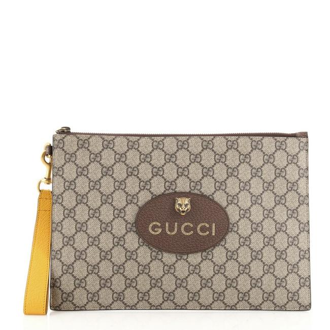 Item - Neo Vintage Pouch Gg Coated Brown Canvas Wristlet
