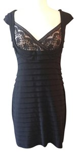 Adrianna Papell Ribbons Ribbed Lacy Bust Dress