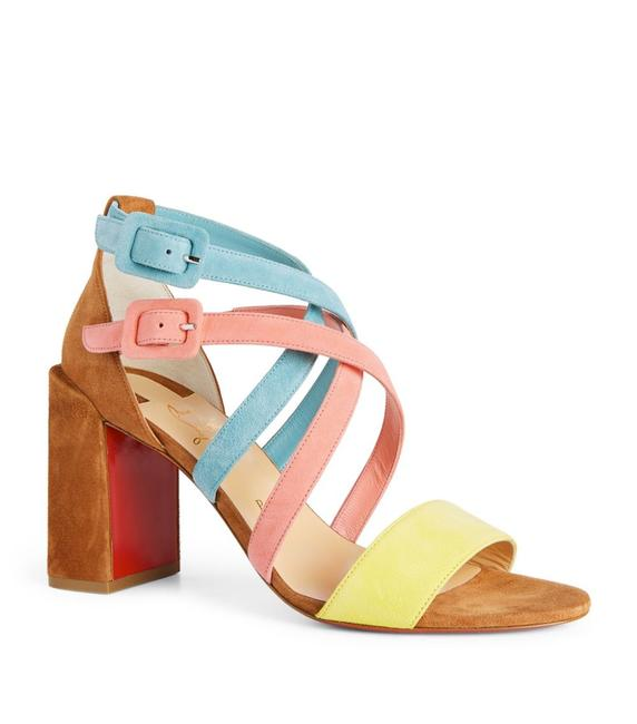 Item - Pink Yellow Brown Teal Blue Zefira 85 Colorblock Suede Strappy Heels Sandals Size EU 36.5 (Approx. US 6.5) Regular (M, B)