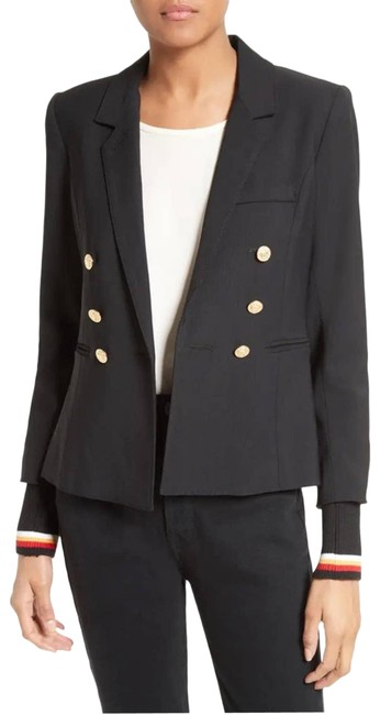 Item - Black College Double Breasted Knit Cuffs Blazer Size 4 (S)