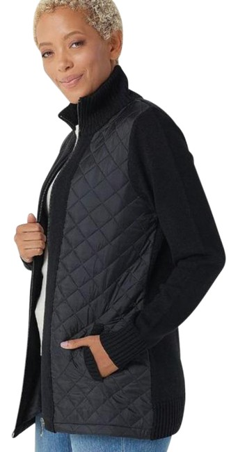 Item - Black Women's Quilted Woven-front Sweater Jacket Size 12 (L)