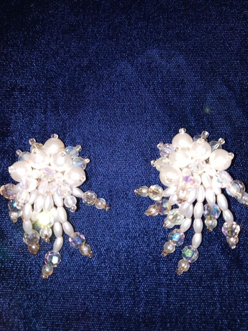 Item - White and Clear Almost Vintage Hand Beaded Clip On Earrings
