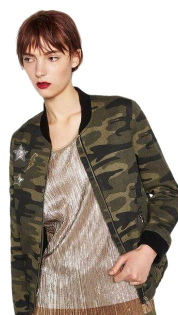 Item - Green Black Camo with Appliques Jacket Size 4 (S)