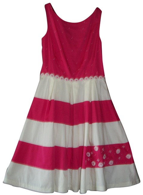 Item - Pink White Stripe / Cream with Decor Flowers Cocktail Dress Size 8 (M)