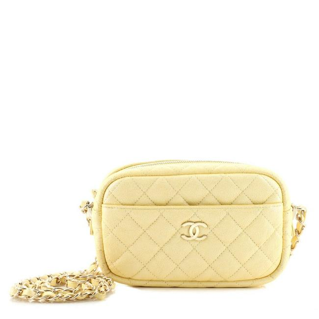 Item - Camera Case Quilted Iridescent Caviar Mini Yellow Leather Cross Body Bag