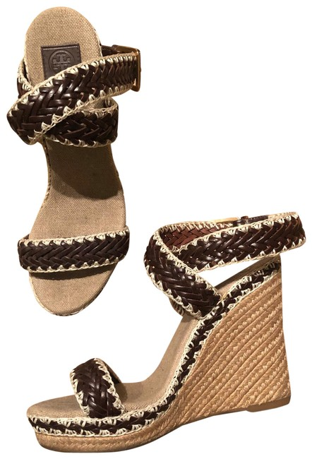 Item - Brown and White Woven Wedge Pumps Size US 9 Regular (M, B)