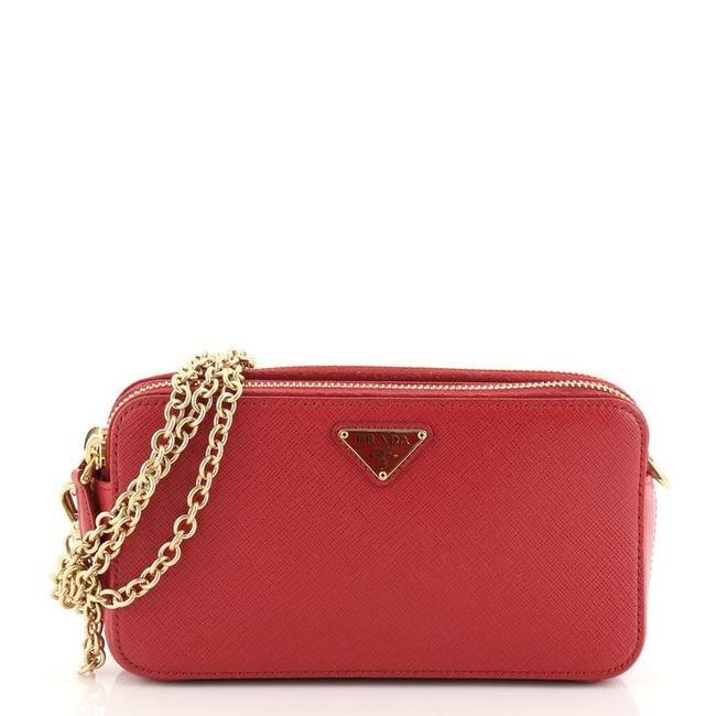 Item - Wallet on Chain Double Zip Saffiano Mini Red Leather Cross Body Bag