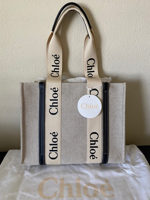 Chloé Woody Medium Leather-trimmed Cotton-canvas Beige and Black Coated Canvas Tote Chloé Woody Medium Leather-trimmed Cotton-canvas Beige and Black Coated Canvas Tote Image 12