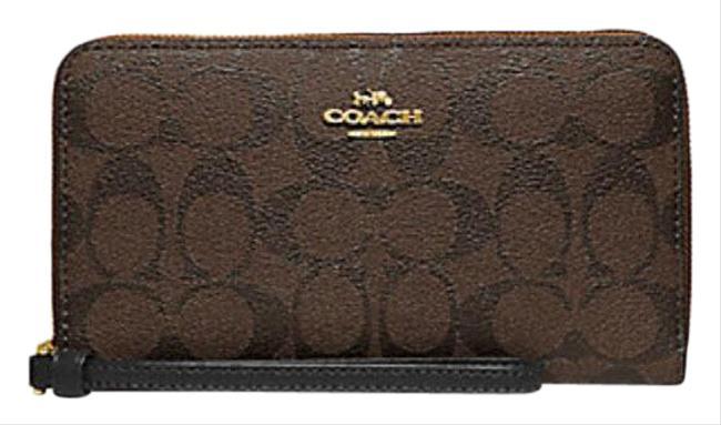 Item - Brown Black Large Phone Wallet In Signature Canvas Cosmetic Bag