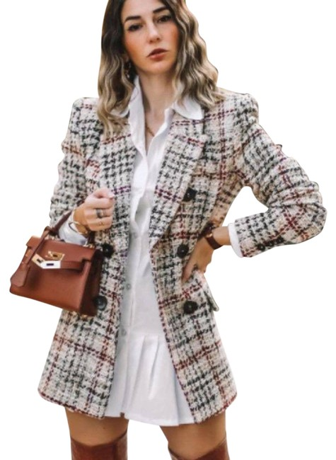 Item - Cream Double Breasted Textured Plaid Blazer Size 4 (S)