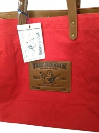 Preload https://item4.tradesy.com/images/true-religion-red-canvas-and-leather-tote-29478-0-0.jpg?width=440&height=440