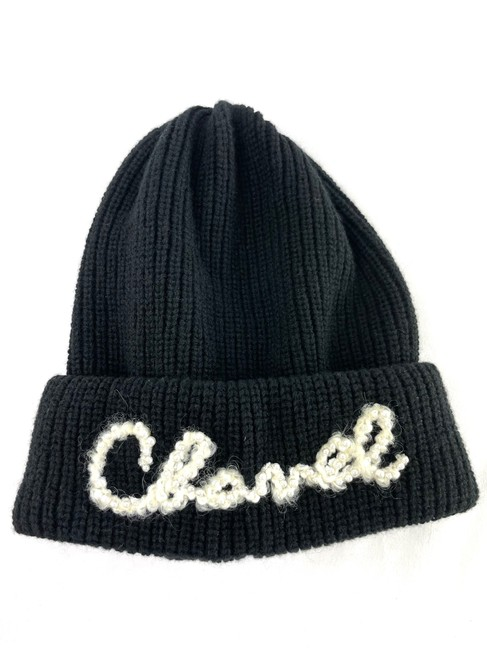 Item - Black Cashmere Beanie with White Script with Pearls Hat