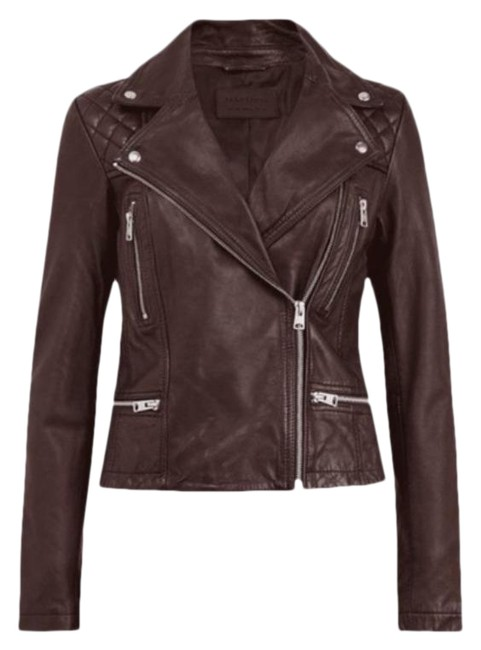 Item - Brown Red Catch Moto In Oxford Jacket Size 0 (XS)