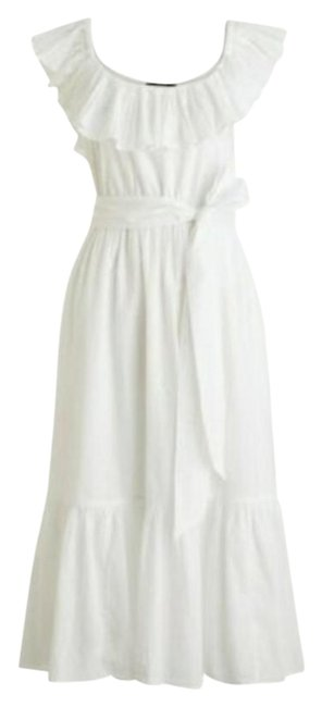 Item - White Midi In Shadow Stripe Mid-length Cocktail Dress Size 14 (L)