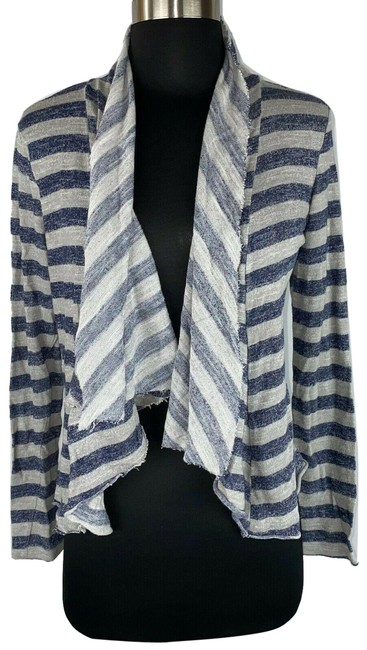 Item - Multicolor M Striped Open Front Long Sleeve Rayon Blend Cardigan Size 8 (M)