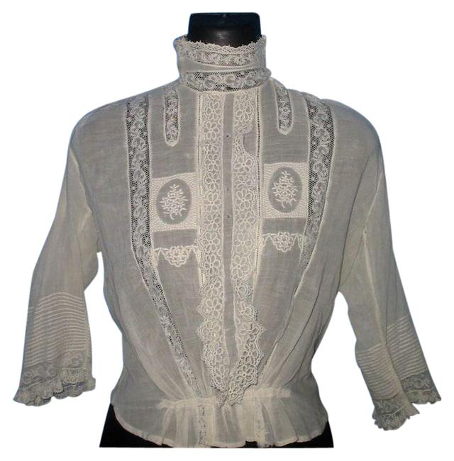 Item - White Antique Victorian Lace Embroidered Pintucked Blouse Size 4 (S)