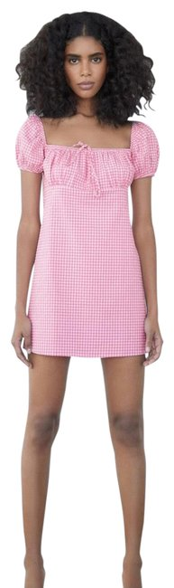 Item - Pink/White Gingham Short Casual Dress Size 8 (M)