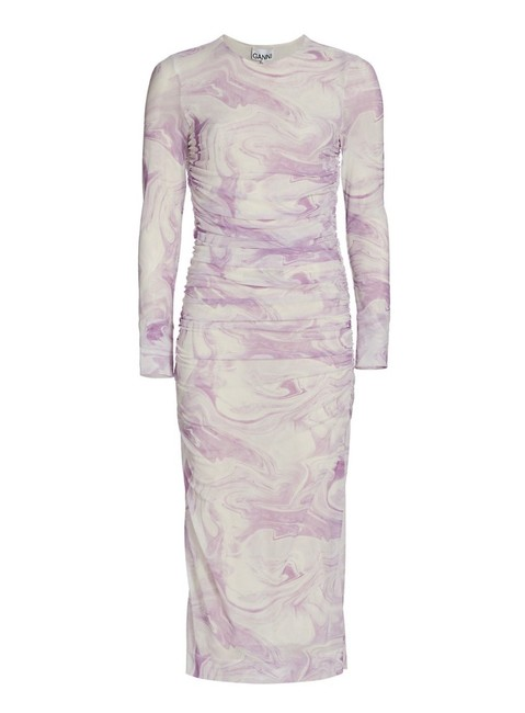 Item - White & Purple Ruched Swirl Printed Mesh Midi Mid-length Night Out Dress Size 4 (S)