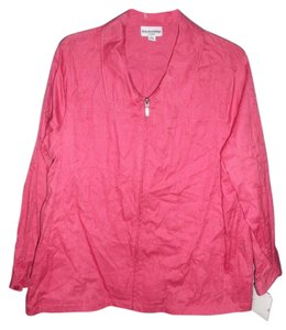 Breckenridge Embroidered Collared Zip Front Spiced Coral Jacket