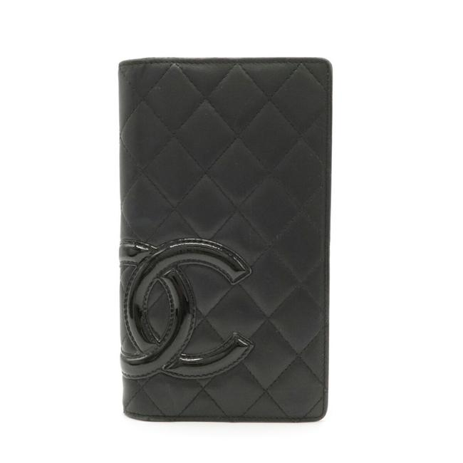 Item - Black / Pink Long Cambon Line Coco Mark Bi-fold Leather Soft Calf A26717 Wallet