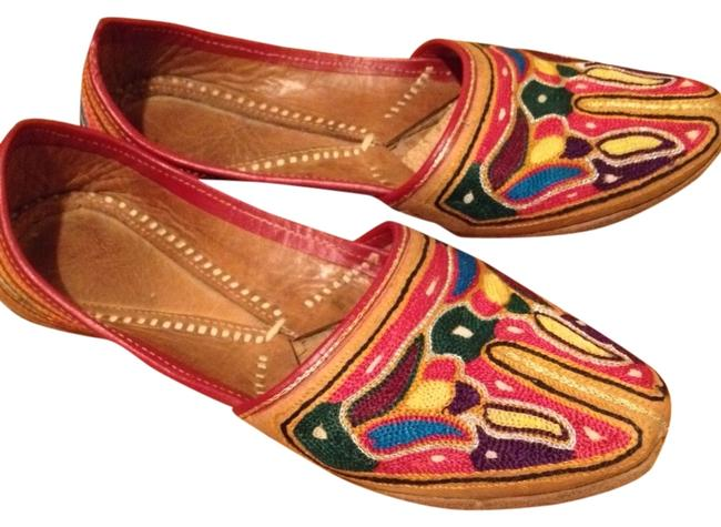 Multi-color Moroccan Leather Flats Size US 5.5 Regular (M, B) Multi-color Moroccan Leather Flats Size US 5.5 Regular (M, B) Image 1