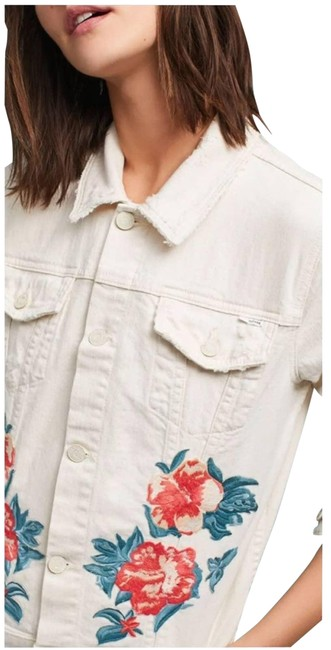 Item - Cream Mother The Bruiser Cropped Embroidered Denim Jacket Size 8 (M)