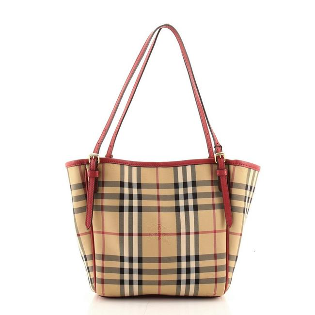 Item - Canterbury Horseferry Check Mini Brown Print Red Canvas Plain Tote