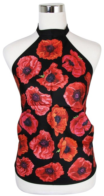 Item - Black/Red Poppy Silk Floral Scarf 327378 1074 Halter Top Size OS (one size)