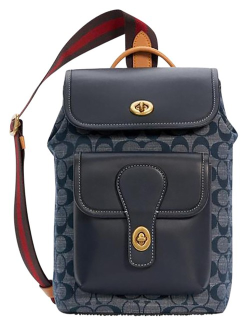 Item - Heritage Pack In Signature Chambray Denim Leather Backpack