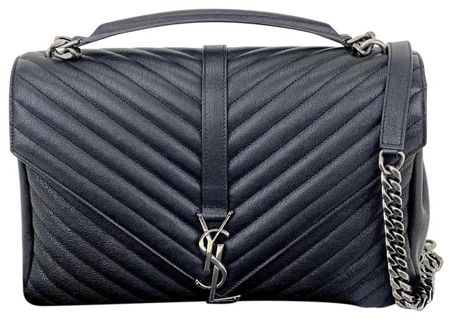 Item - Monogram College Large Quilted B376 Black Leather Cross Body Bag
