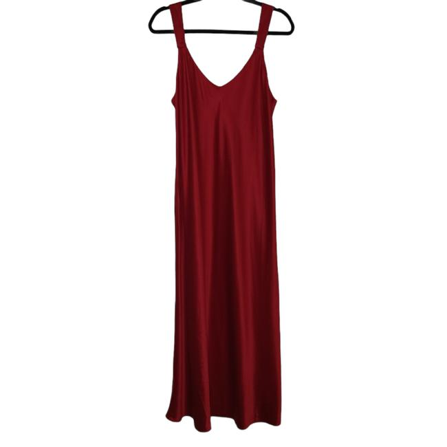 Item - Red Womens Gown Straps Solid Night Sleep Sexy Medium 1461 Short Casual Dress Size 8 (M)
