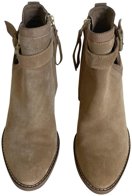 Item - Tan W Suede W/Zipper and Buckle On Side. Boots/Booties Size US 6 Regular (M, B)