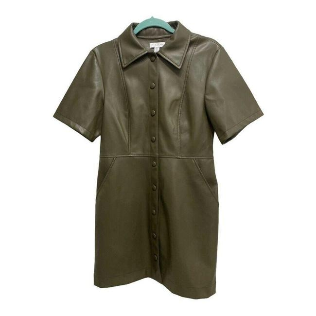 Item - Green Shirt Mini Pockets Short Sleeve Faux Leather Mid-length Cocktail Dress Size 8 (M)