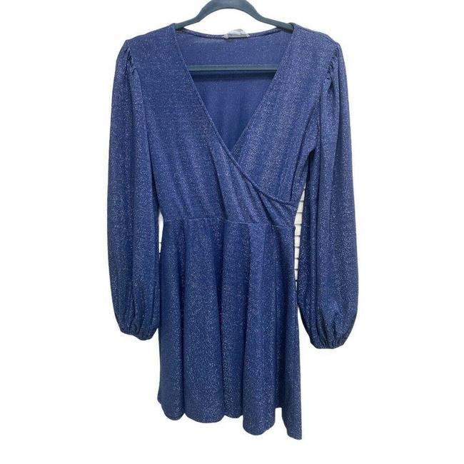 Item - Blue Hey Lover Faux Wrap Marled Mini Stretch S Short Cocktail Dress Size 4 (S)
