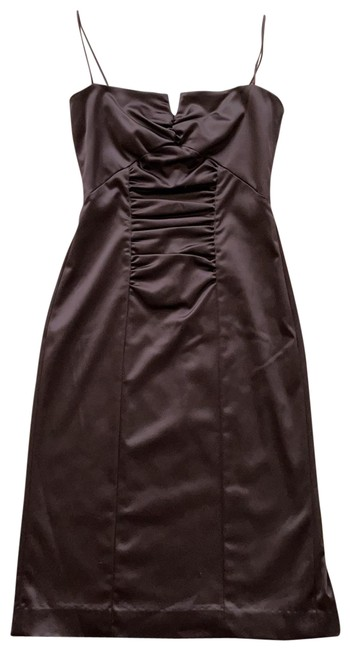 Item - Dark Brown Bustier Front Silky Mid-length Cocktail Dress Size 10 (M)