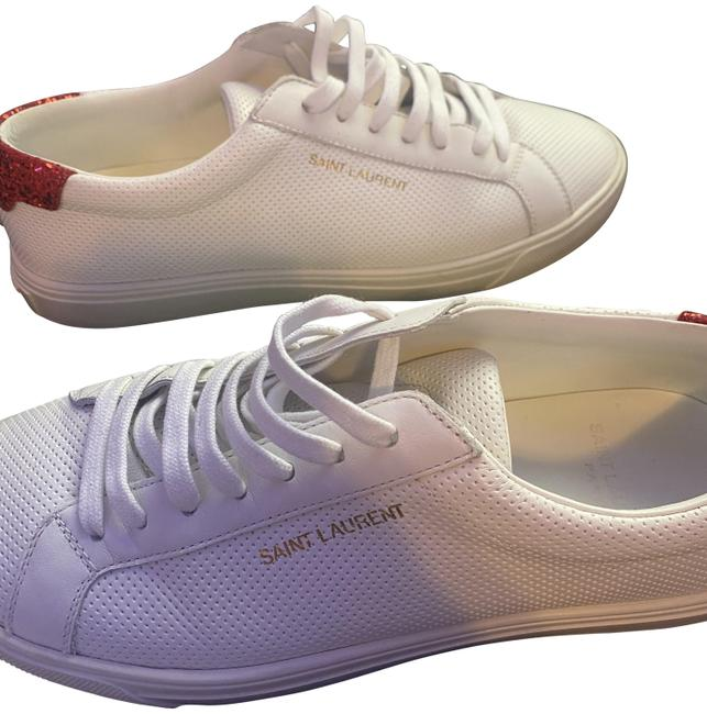 Item - Red/White Andy Leather Lace-up Sneakers Size EU 37.5 (Approx. US 7.5) Regular (M, B)