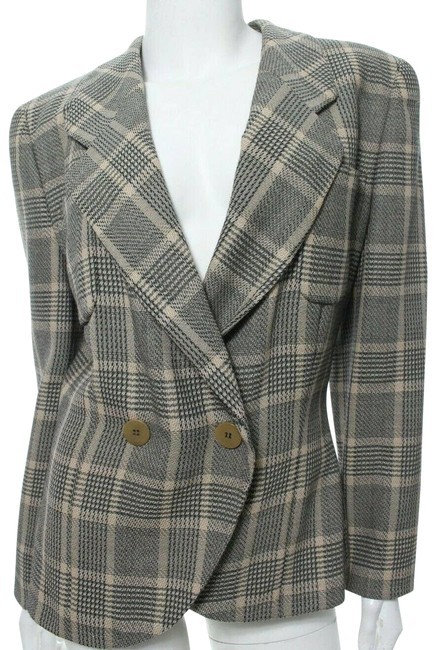 Item - Gray Beige It 42 Us Plaid Double Breasted Blazer Size 6 (S)