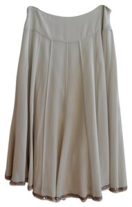DKNY Size 6 Silk Chiffon With Copper Brown Sequin Trim Skirt Beige