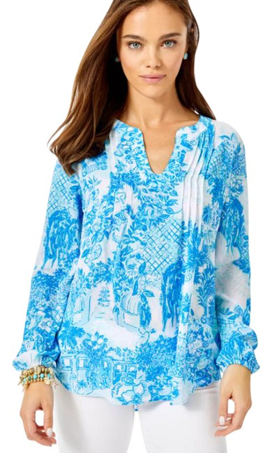 Item - Blue Colby Multi Toile Me About It S Blouse Size 6 (S)