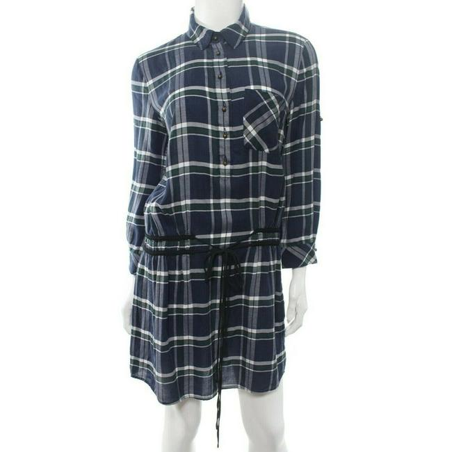 Item - Blue Green White Navy Marcy Plaid Shirtdress Ls Short Casual Dress Size 4 (S)
