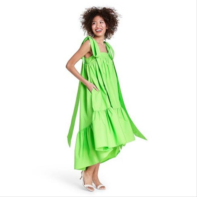 Item - Green Tie Strap High-low Babydoll For Target Mid-length Casual Maxi Dress Size 2 (XS)