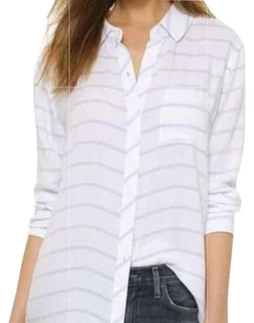 Item - White Lavender Striped Long Sleeve Button Front Shirt S Blouse Size 6 (S)