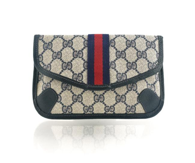 Item - Blue Supreme Web Gg Canvas Leather Travel Toiletry Vintage Cosmetic Bag
