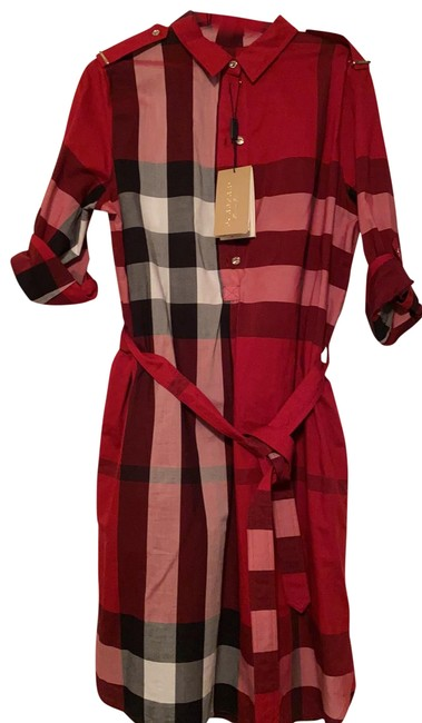 Item - Red Tan Parade Checked Kelsey Mid-length Short Casual Dress Size 10 (M)