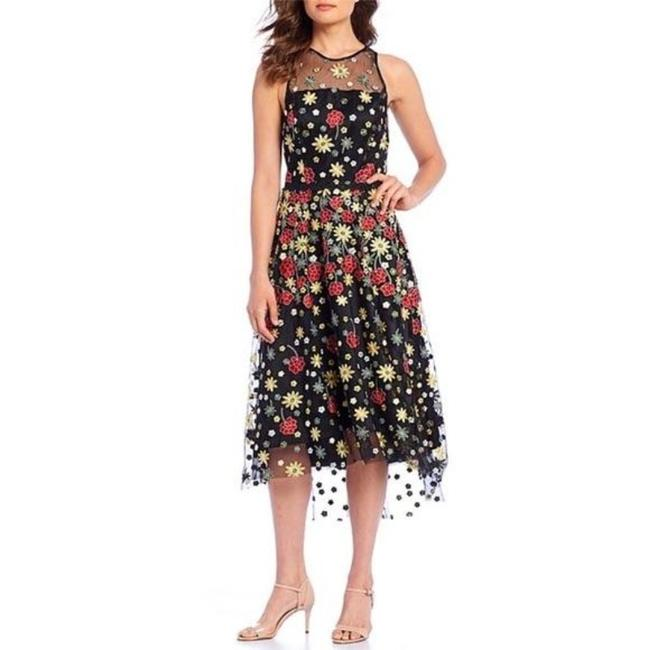 Item - Black Red Lindsey Embroidered Mesh Sleeveless Mid-length Cocktail Dress Size 8 (M)
