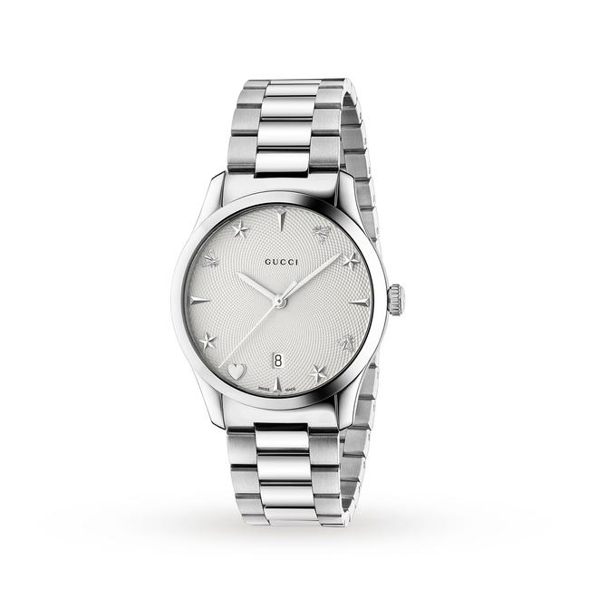 Item - Silver New G-timeless 38mm Guilochi Dial Unisex Ya1264028a Watch