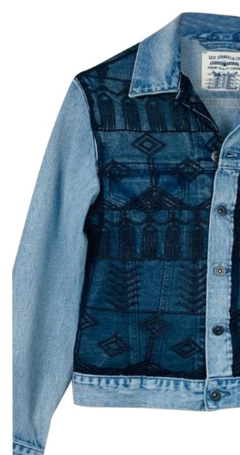 Item - Black Blue Made & Crafted Embroidered Tulle Boyfriend.rucker Jacket Size 8 (M)