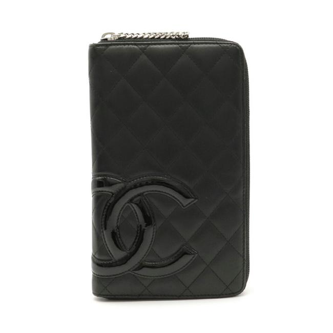 Item - Black / Pink Long Cambon Line Round Organizer Coco Mark Leather A26710 Wallet