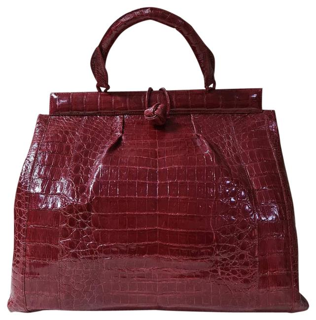Item - Women's Resort 2020 Knot Lady Red Crocodile Skin Leather Tote