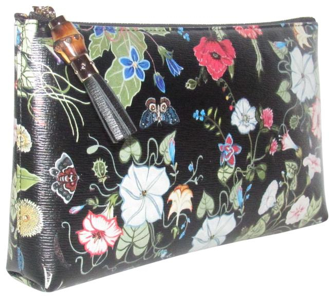 Item - Floral Print Busta Grande Style Clutch/Cosmetic Bag/Pouch Black-blue/Pink/Green Flowers Leather Clutch